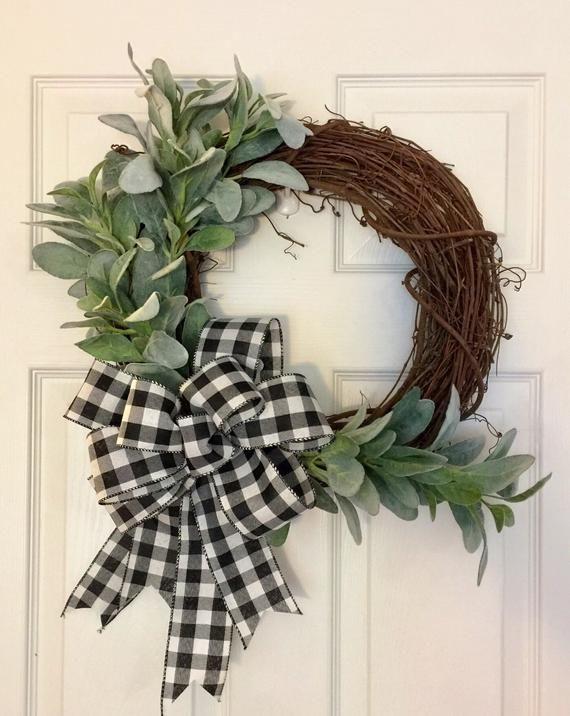 Photo of Lambs Ear Wreath, Farmhouse Fall Wreath, Buffalo Plaid Fall Wreath, Farmhouse Spring Wreath, Neutral