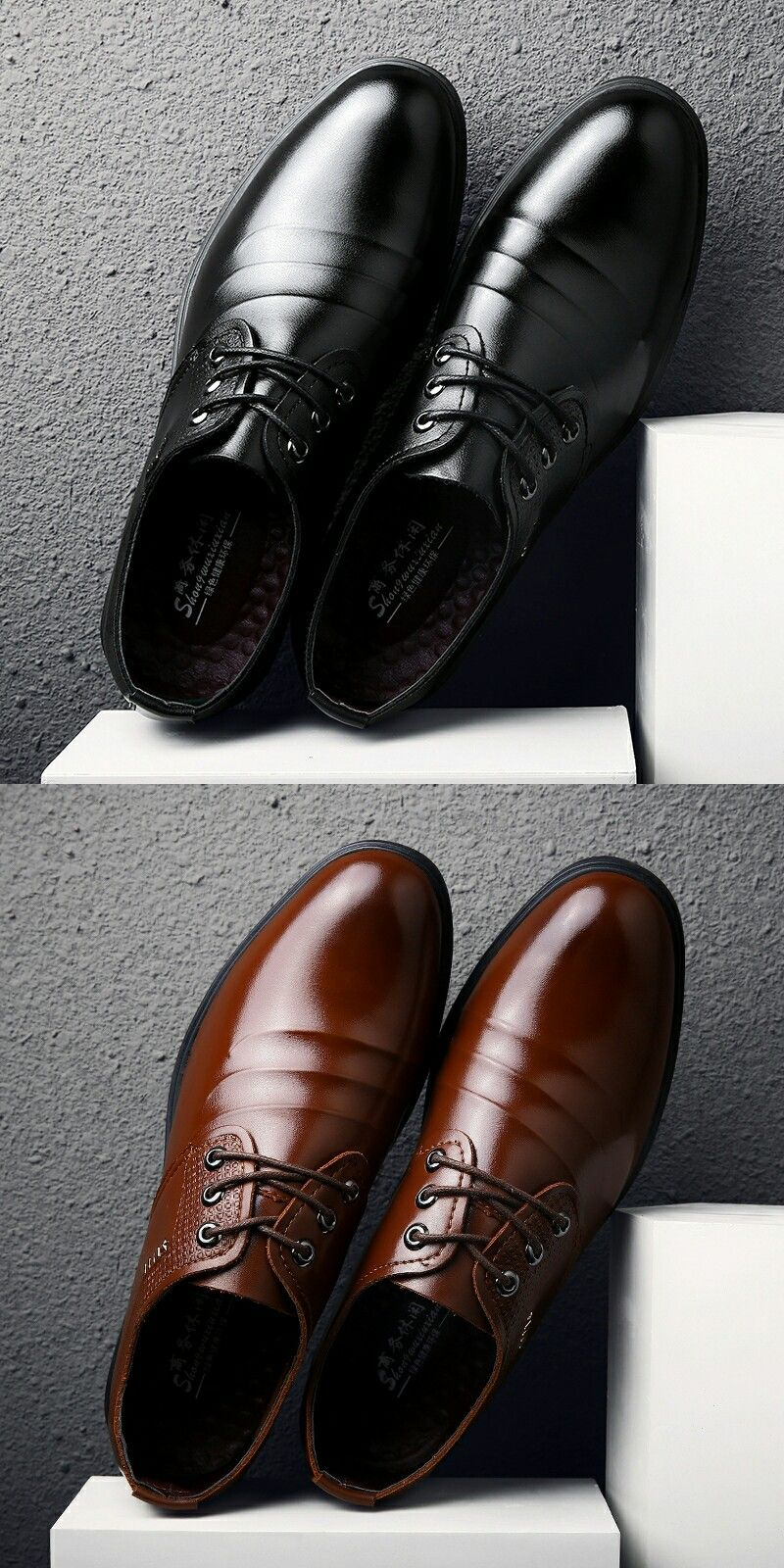 Prelesty Office Men Dress Shoes Pointed Toe Leather Formal