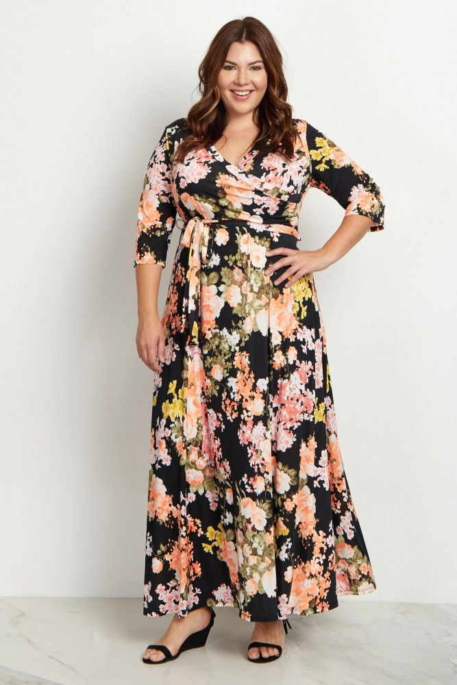 97d8f3f24f8 Black Floral Sash Tie Plus Size Maternity Nursing Maxi Dress