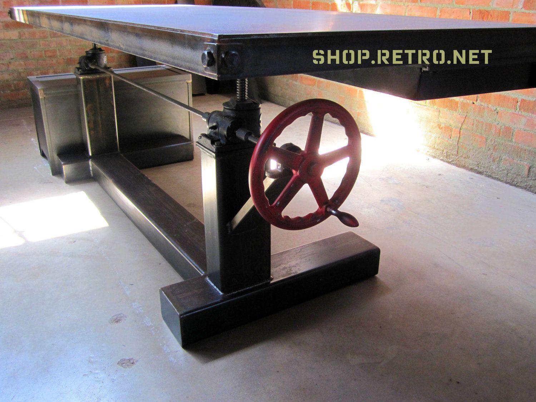 French Industrial Adjustable Height Desk   Vintage Work Table. $5,750.00,  Via Etsy.