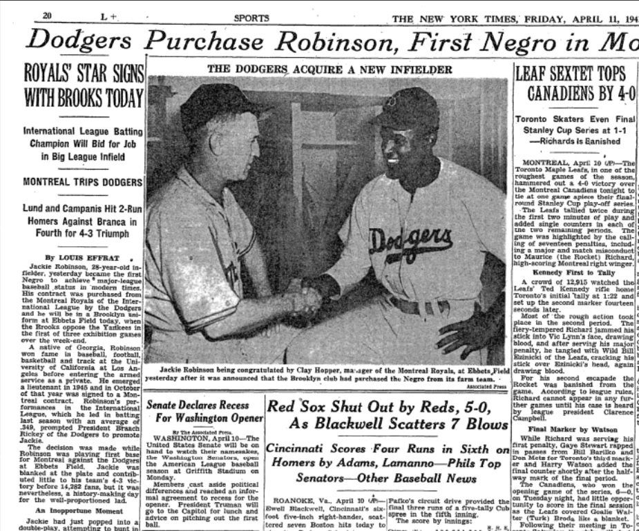 In 1947 the dodgers officially announced during the sixth