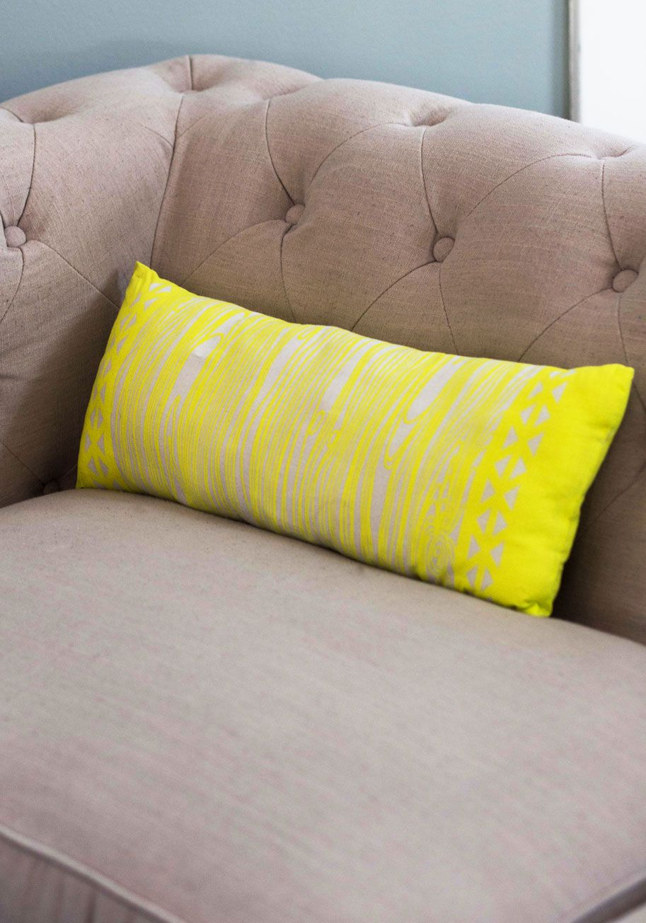 Contemporary Campfire Pillow. You have many memories of bonding around a campfire as a child, so this woodgrain-printed pillow is a natural addition to your decor! #yellow #modcloth