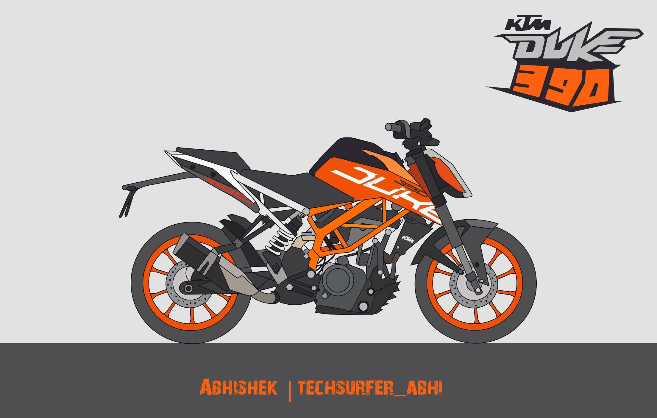Vector Art Of Ktm Duke 390 By Me Techsurfer15