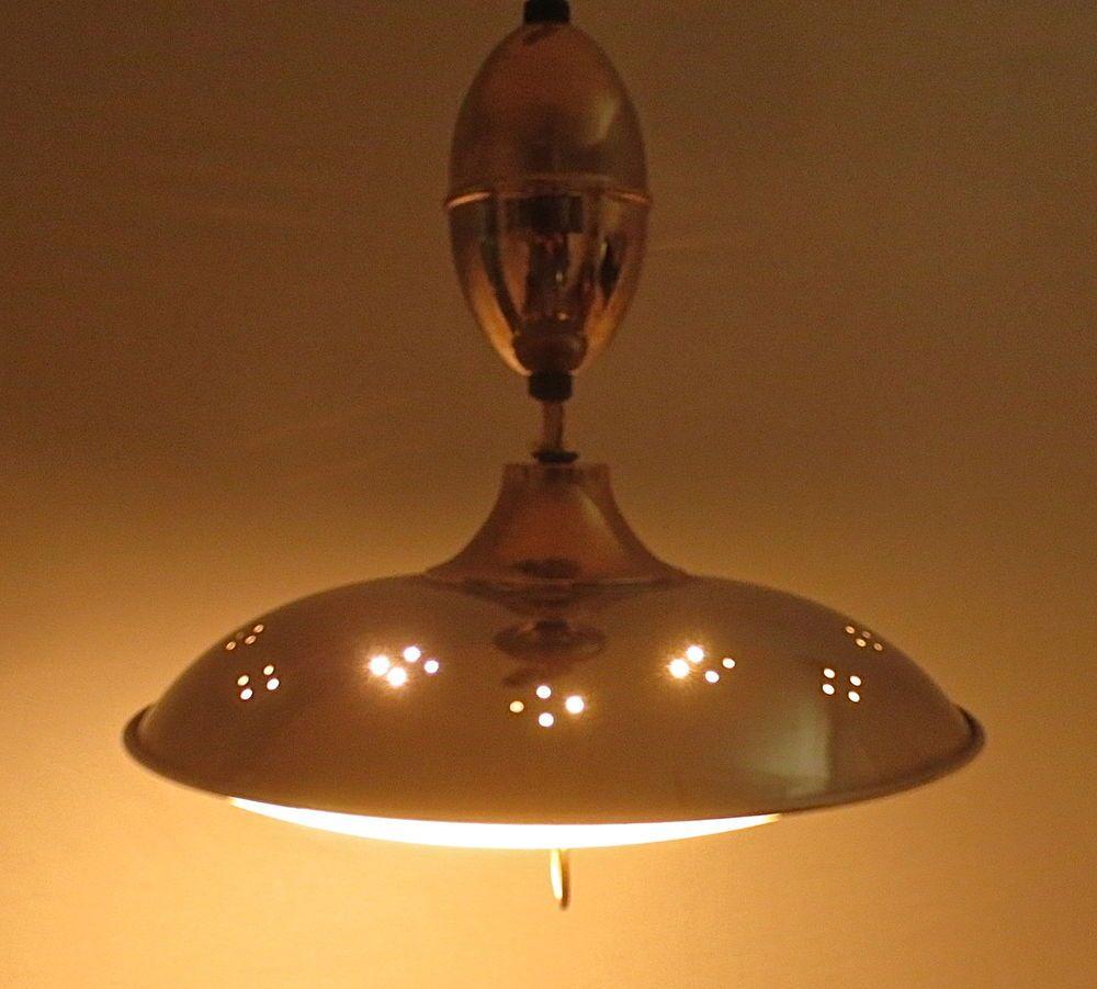 Vintage Mid Century Atomic Retractable Pendant Light Fixture E Age Lamp