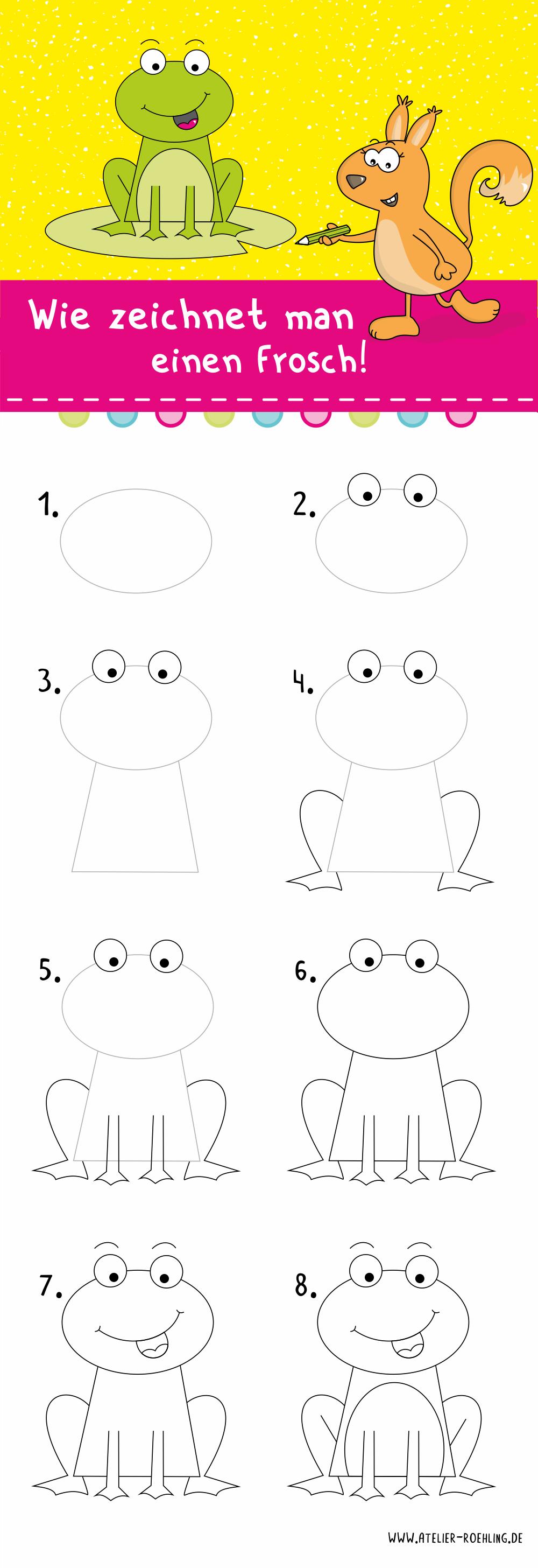 wie zeichnet man einen frosch  frosch zeichnen zeichnen