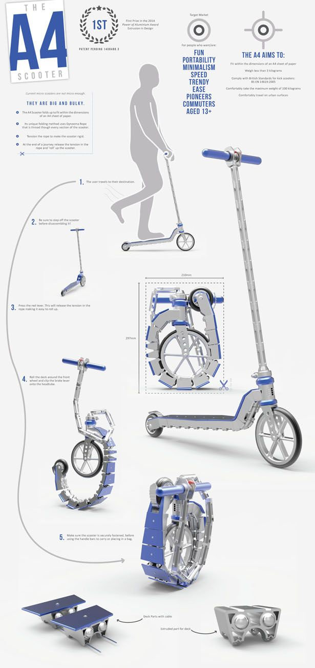 A4 Foldable Scooter by George Mabey