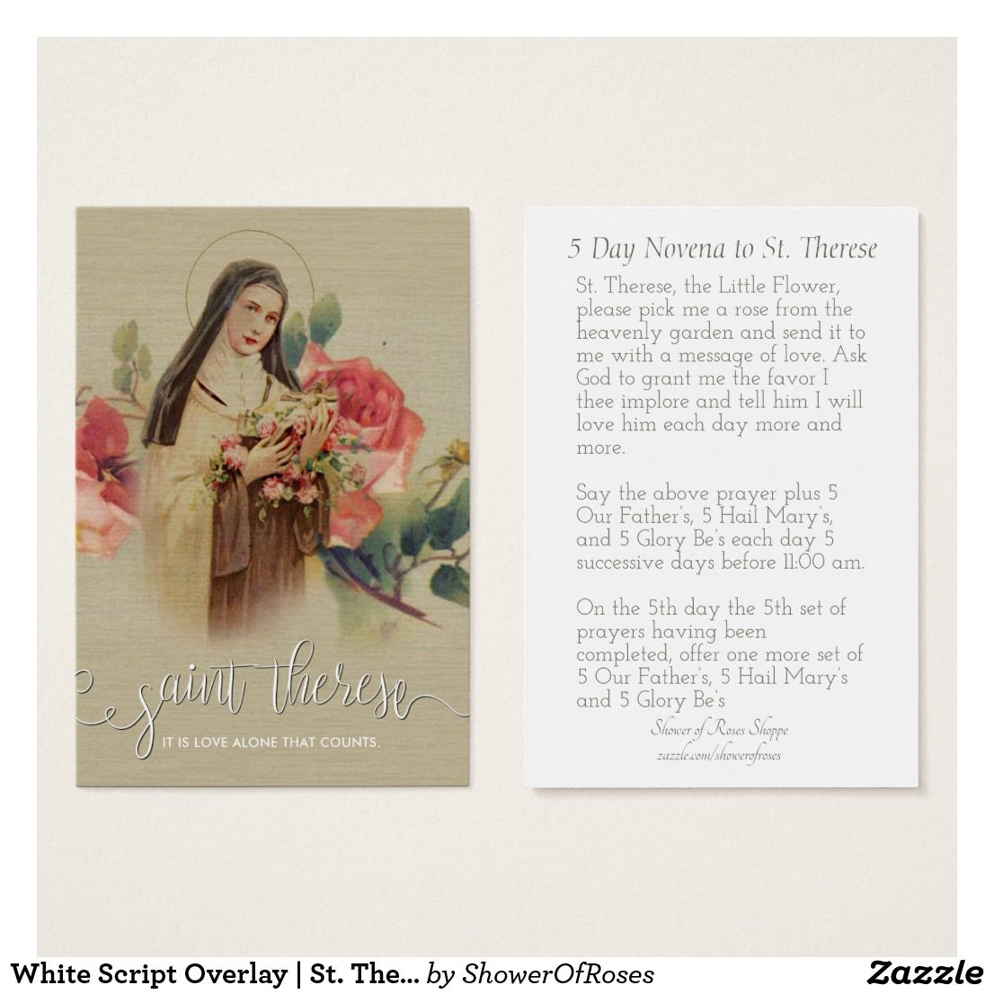 White Script Overlay St. Therese Roses Holy Card