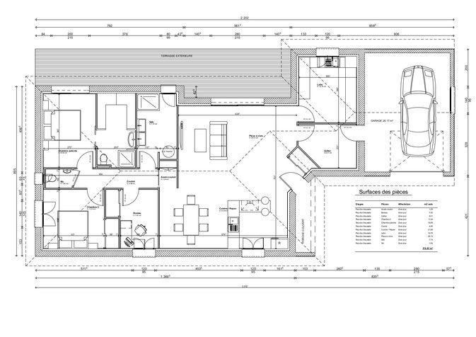 Plan maison 120 m² Architecture Pinterest AutoCAD and Architecture - modele plan maison plain pied gratuit