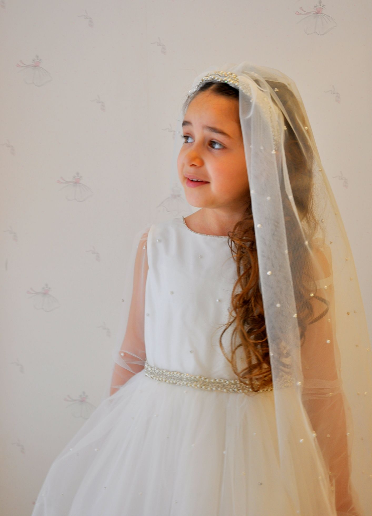 wedding dress flower girl pearl swarovski tulle shantung silk  Peri