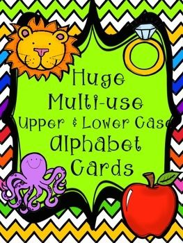 This download includes-Cute fun huge Upper & Lower-case Alphabet cardsI use these for:-a Alphabet matching game: give half the students an upper case letter and the other half a lower case letter. Then have them find the match to fun music. - for my ELLs or exceptional children!