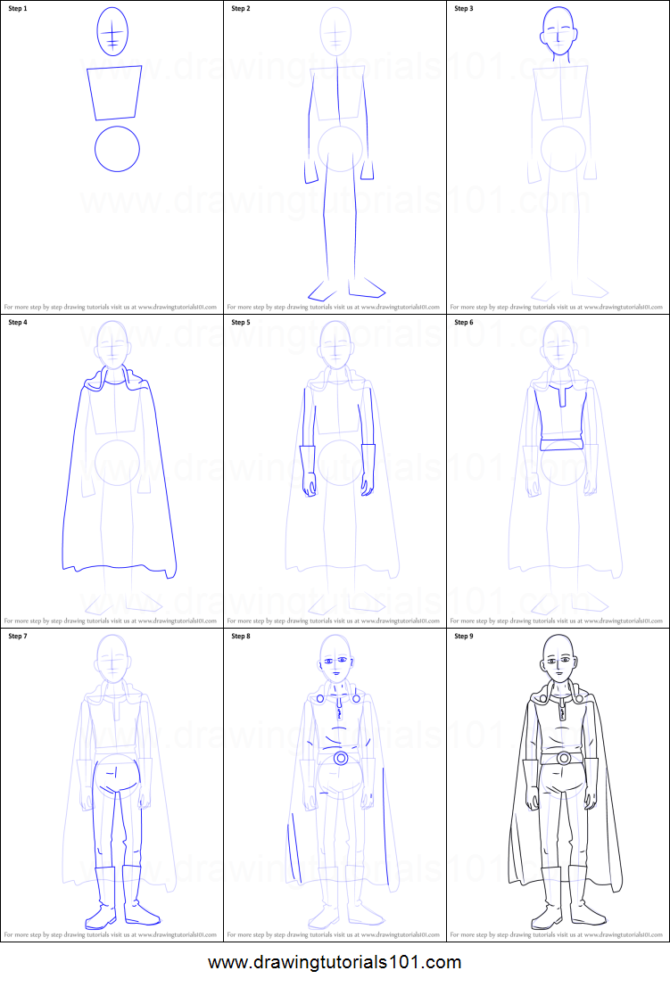 How To Draw Saitama From One Punch Man Printable Step By Step Drawing Sheet Drawingtutorials101 Com One Punch Man One Punch Drawing Sheet