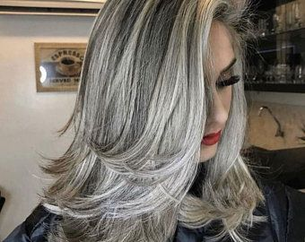 Long Gray Curly Wig,White Curly Hair,Gray Wig, Lac