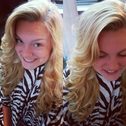 Blonde highlights on long layers. Flat highlights and flat iron curls by Michelle Shahan.