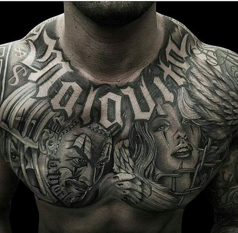 Pin By Ismael Mayo On Eses Punks Greasers Torso Tattoos Chest Tattoo Men Chest Tattoo