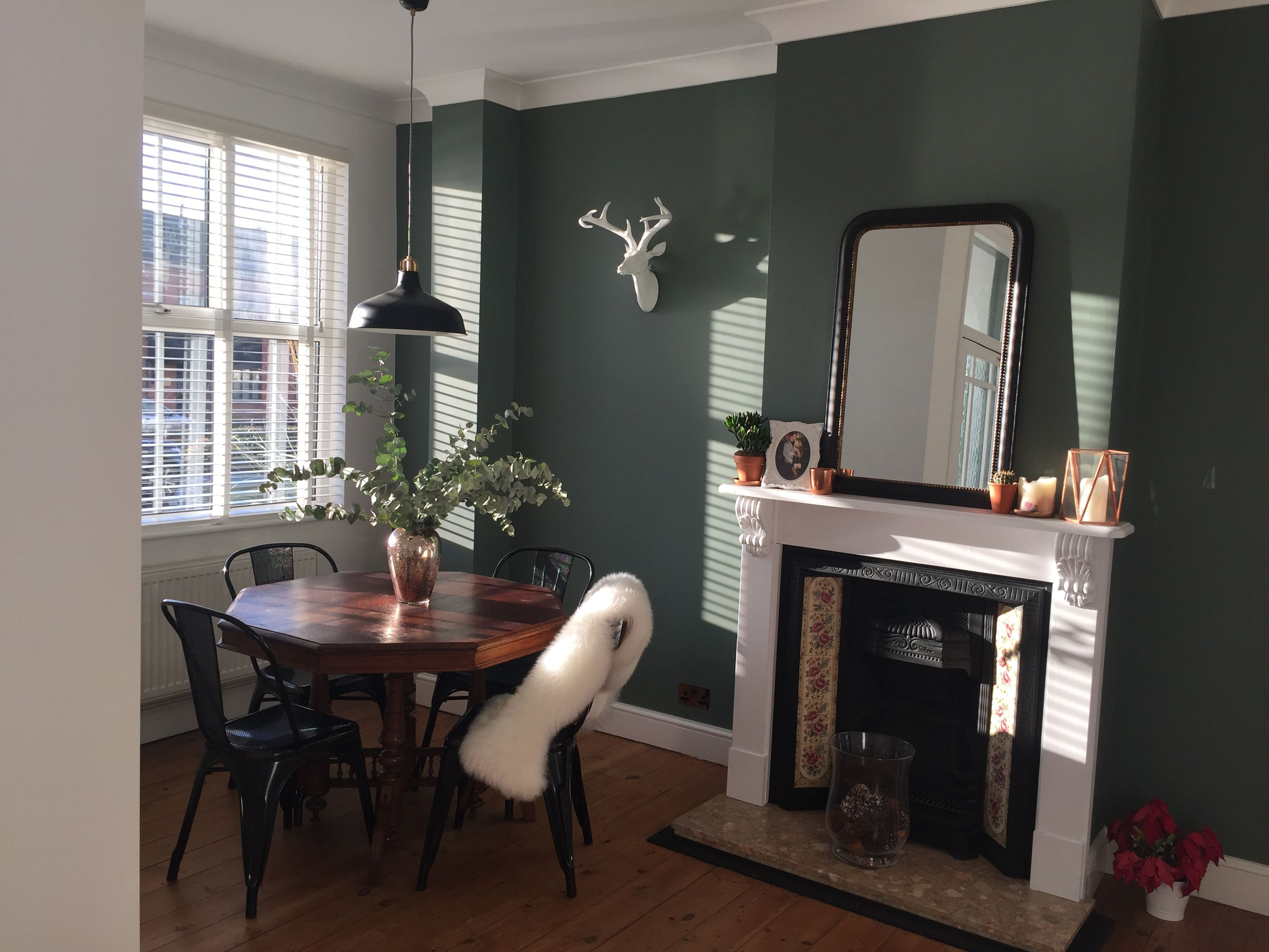Farrow And Ball Green Smoke Stag Head Victorian House Fireplace