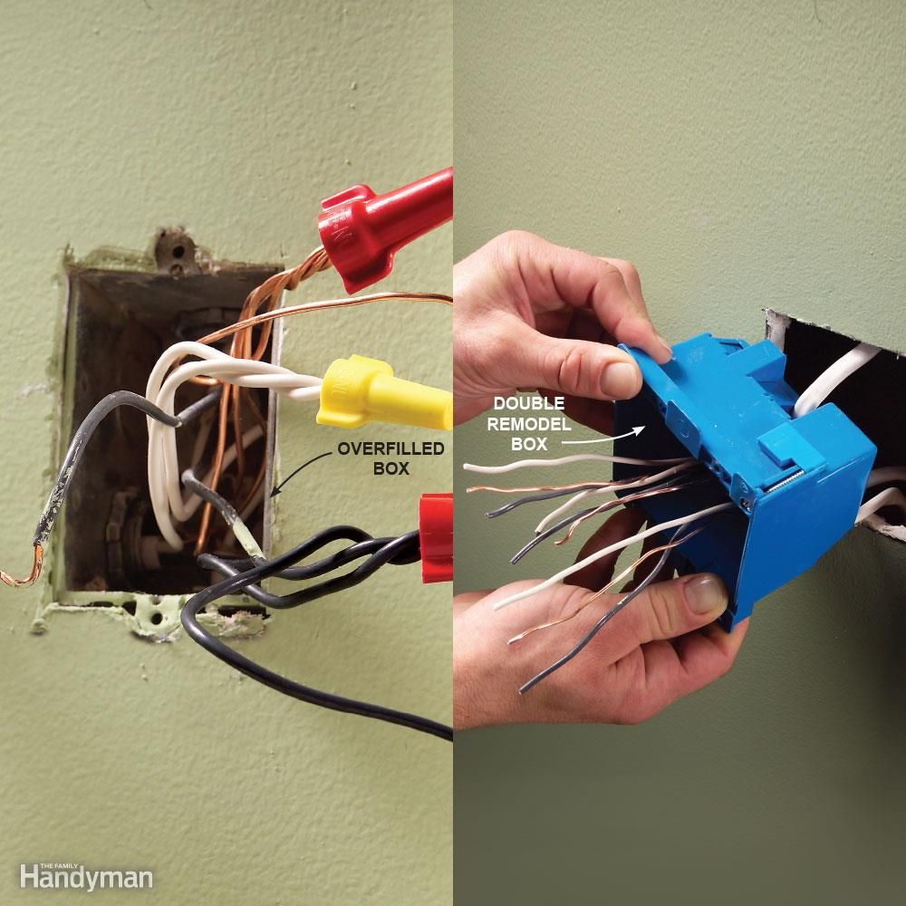 mistake box too small too many wires stuffed into a box can cause dangerous overheating short circuiting and fire the national electrical code specifies  [ 1000 x 1000 Pixel ]