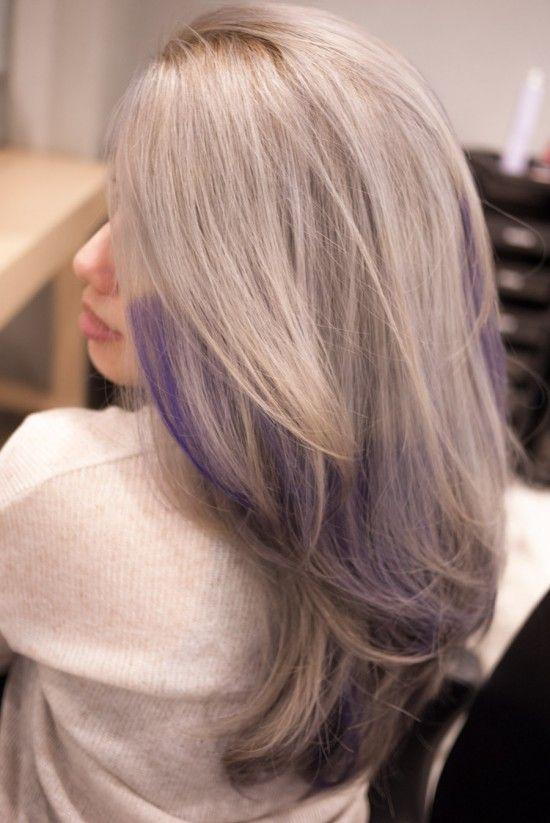 Grey Hair With Purple Highlights Love It Thank You Salon Vim My