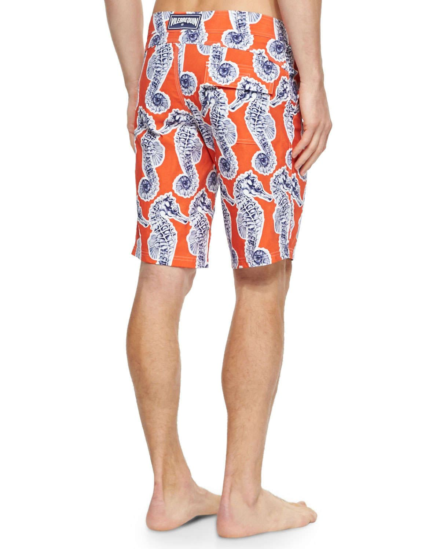 Meia Seahorse-Print Board Shorts, Orange