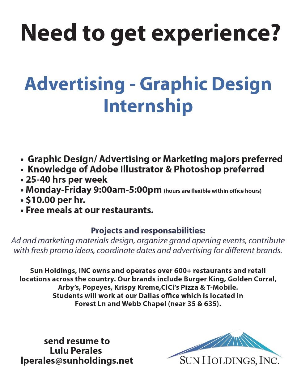 Sun Holdings is looking for a Graphic Design Intern in ...