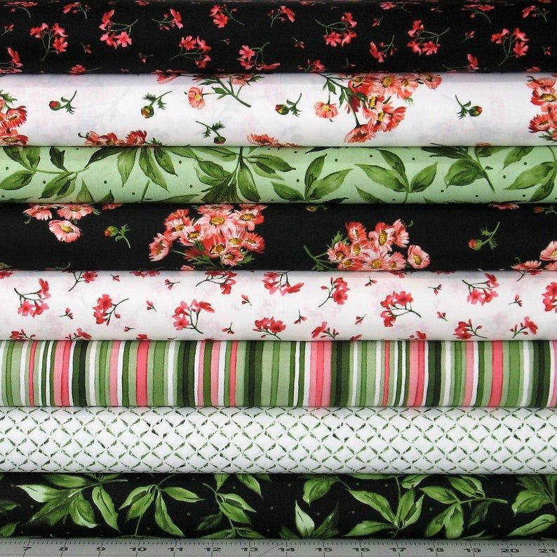 8 Pink Green Black and White Floral Fabrics Featur
