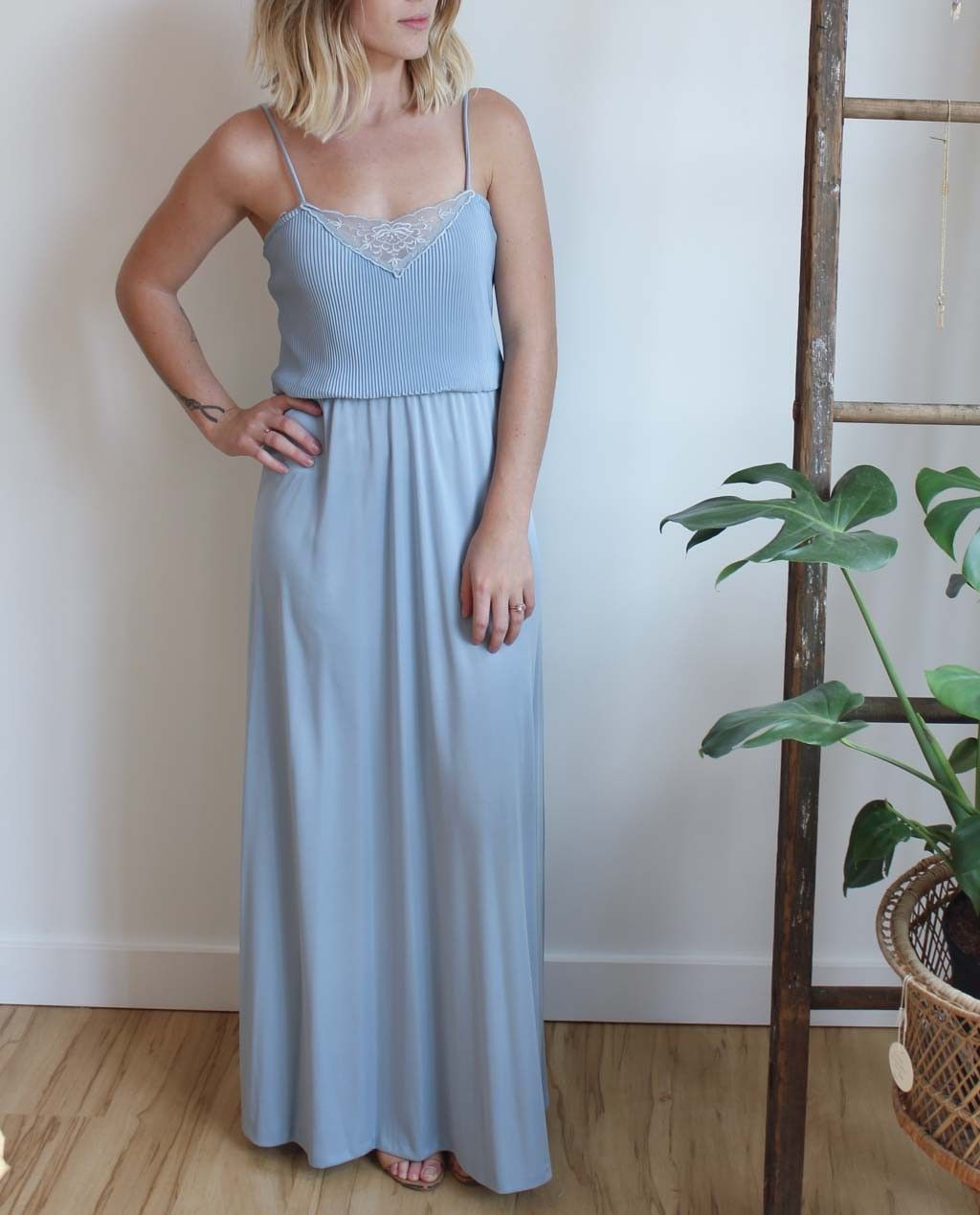 Vintage 1970s Periwinkle Dress with Lace Inset #vintage #wedding #spring #shop #style #dress #dearsociety