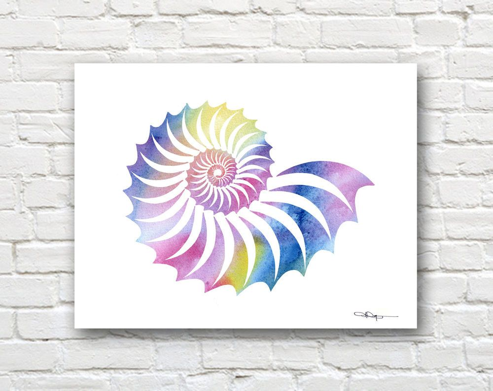 Sea Shell Abstract Watercolor Painting Art Print by Artist DJ Rogers