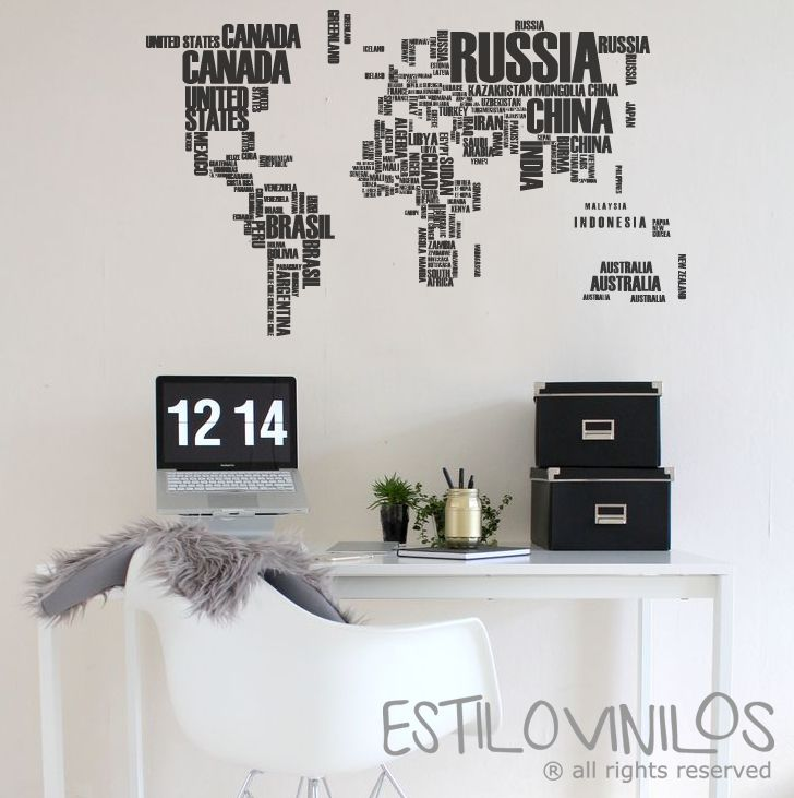 MAPAMUNDI CON TIPOGRAFIA | casa | Pinterest | Mapamundi, Tipografía ...