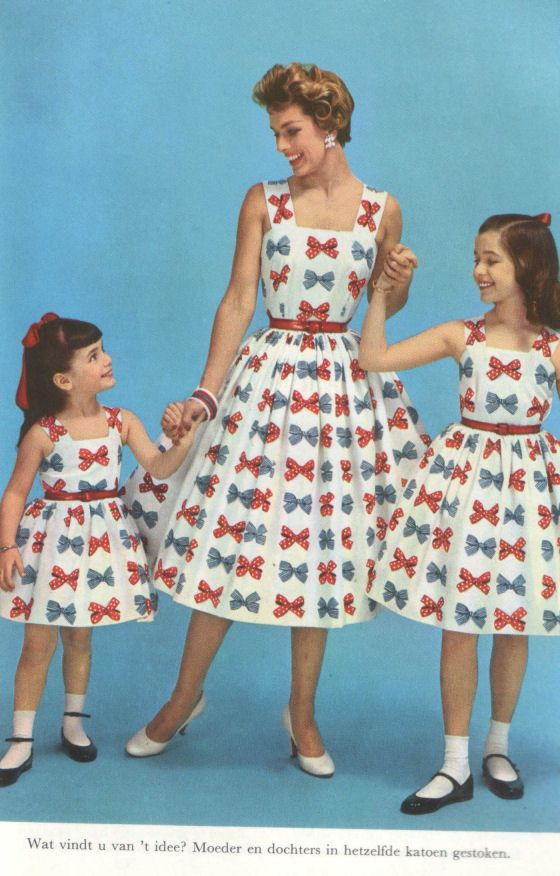 1950s Matching Mother Daughter Dresses 50s Red Blue