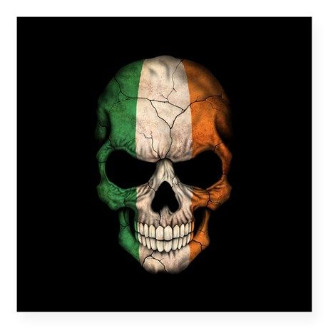 a98d21b0199f4 Irish Flag Skull on Black Sticker | projects | Irish tattoos, Skull ...