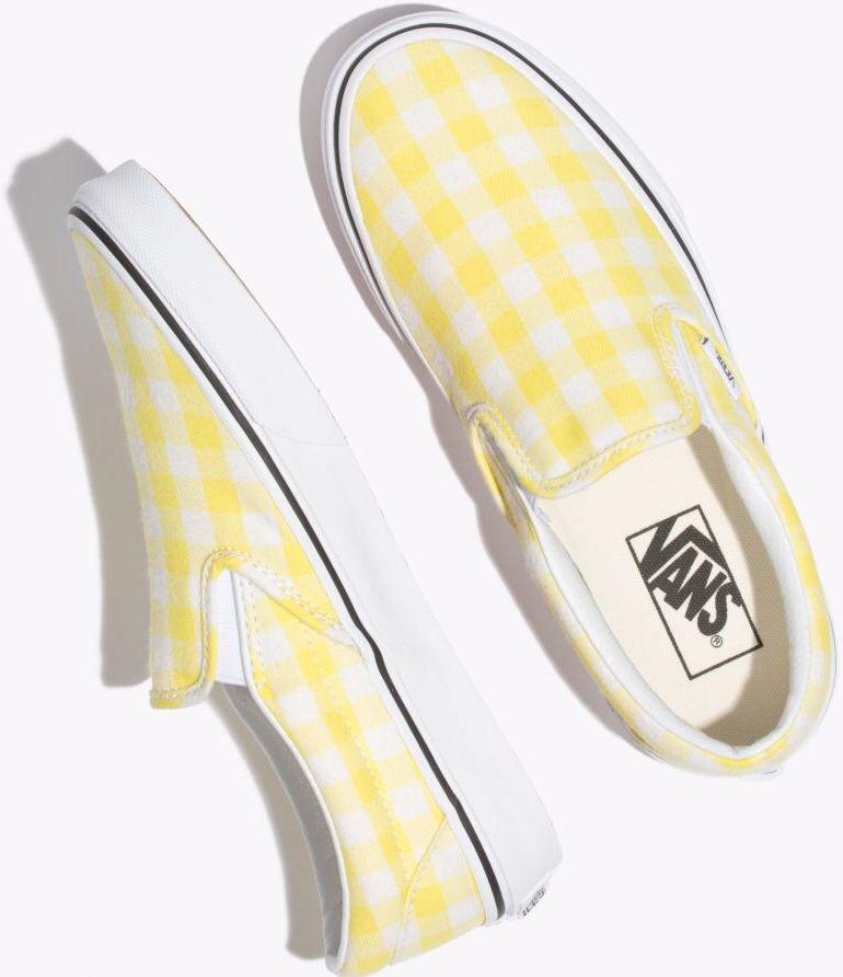 yellow gingham slip-on Vans | Yellow