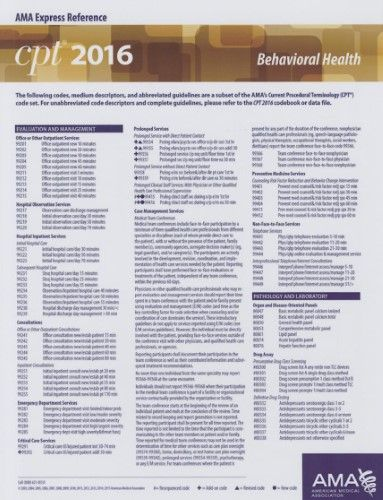 CPT 2016 Express Reference Coding Card Behavioral Health