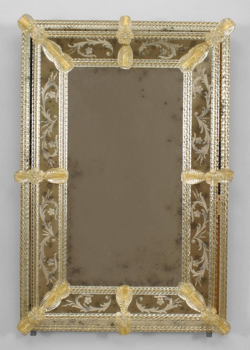 Italian Venetian 1950s Murano Fuga Rectangular Wall Mirror With Etched Floral Scroll Design Border And Applied Gold Mirror Wall Mirror Bedroom Decor Mirror