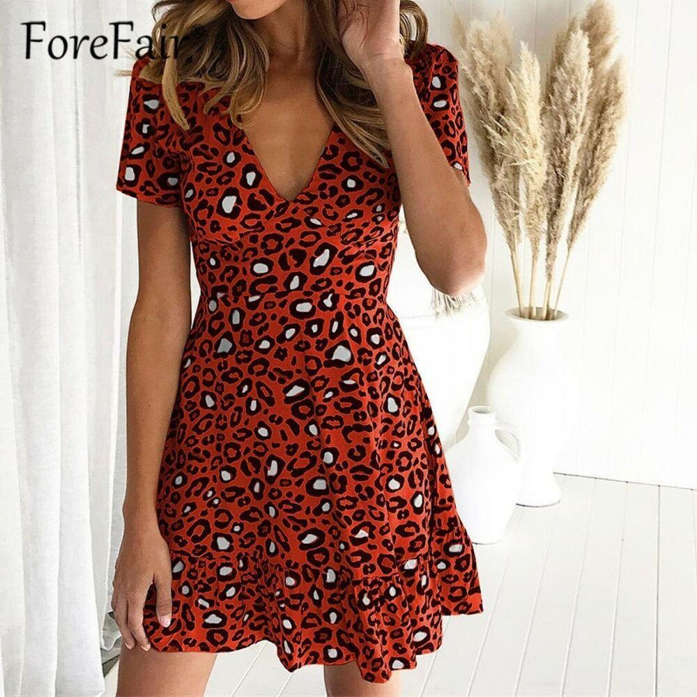 130d4bca29b 2019 Print Leopard Dress sexy women short sleeve v neck ruffle hem high  wais  Unbranded