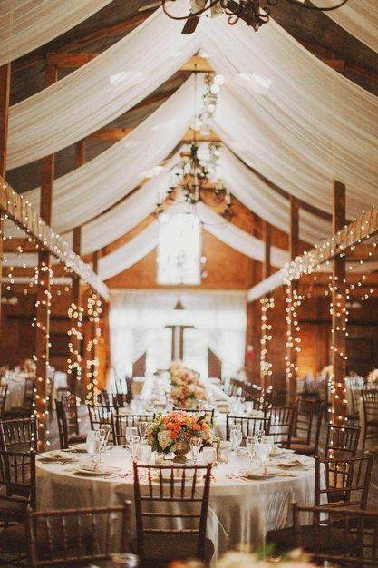 Perfect wedding decor string lights white linens wood beams and string lights white linens wood beams and chandeliers mozeypictures Gallery