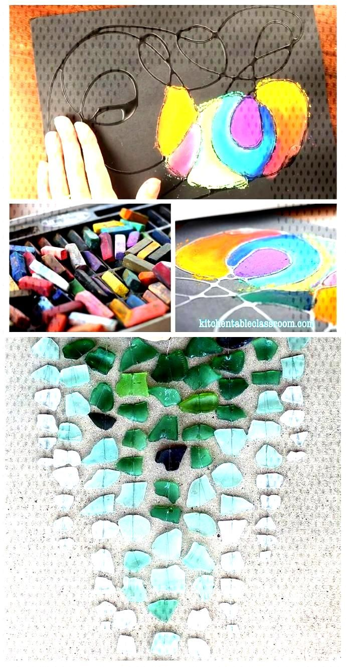 Glue Drawing with Chalk - The Kitchen Table Classroom Glue Drawing with Chalk - The Kitchen Table C