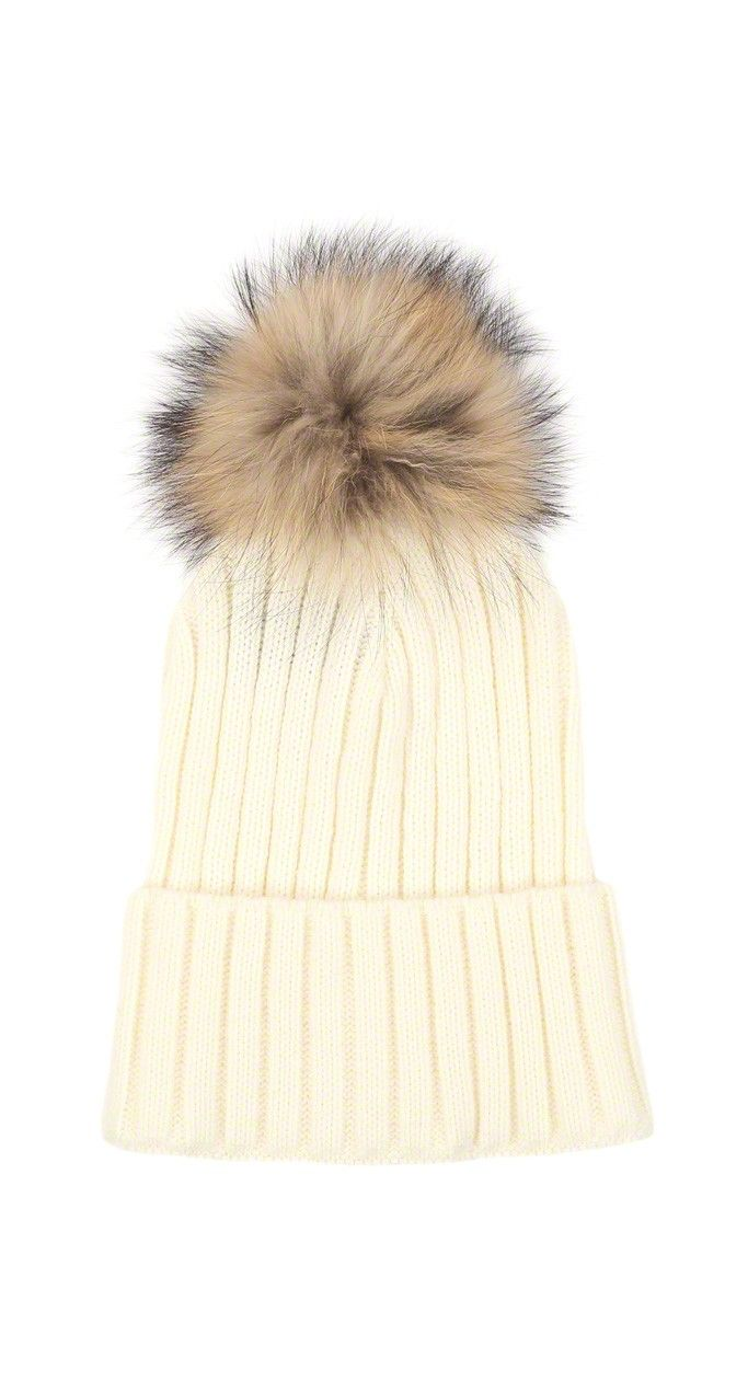 7108d56a01941 Mackage - MAC OFF WHITE KNIT BEANIE HAT WITH FUR POM POM FOR WOMEN. www