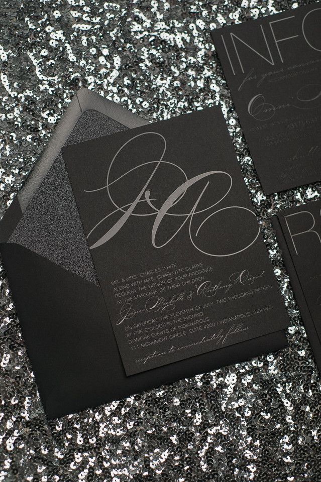 JESSICA Suite Glitter Package, black on black, black gloss foil stamping, black glitter, modern wedding invitation, black tie wedding, modern wedding invitations