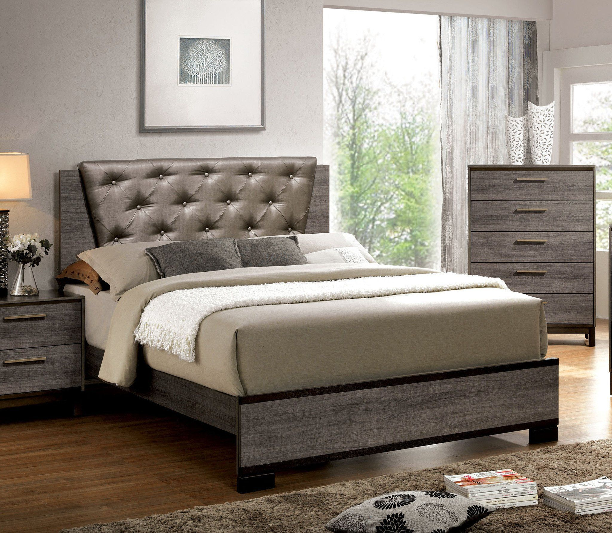 Jurado contemporary leatherette calking bed in antique grey king