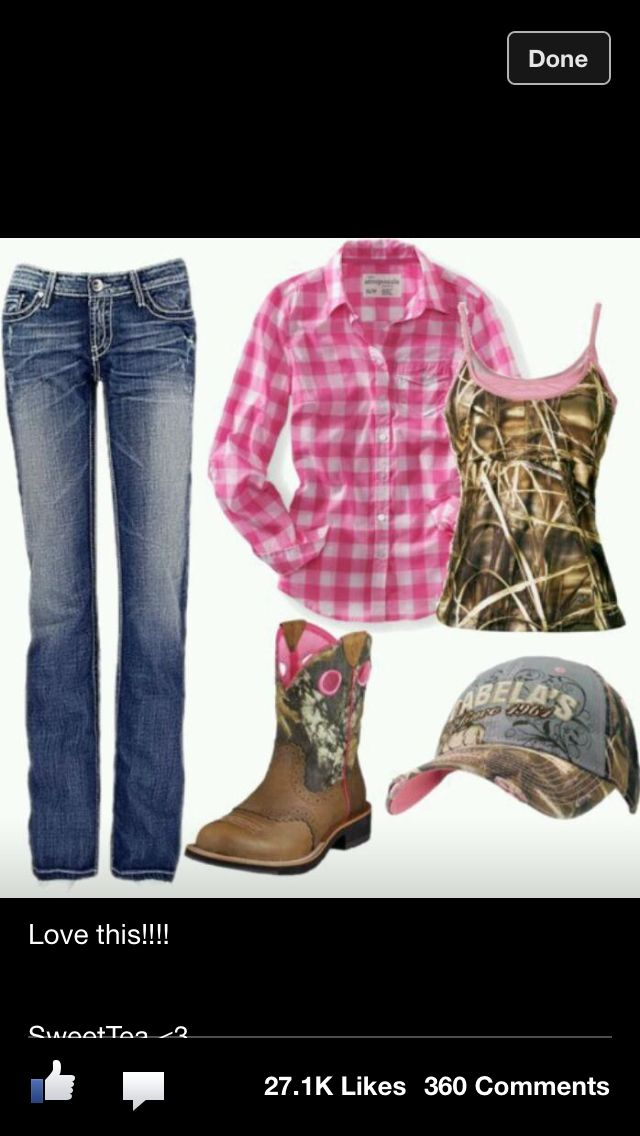 d9f2c5d212 Pink plaid with Realtree Max-4 cami and boots! Cute Country Outfits