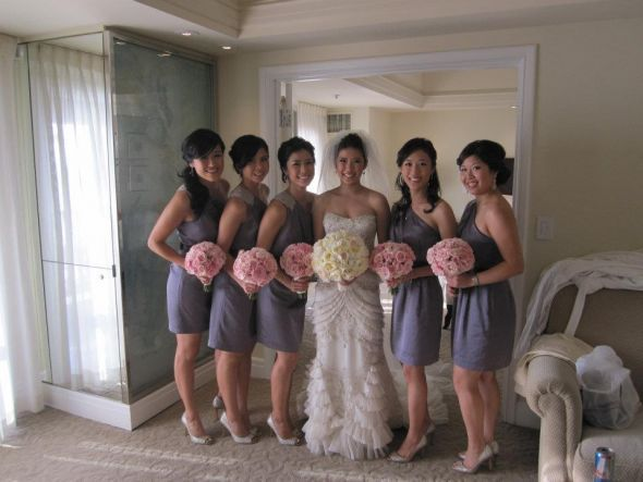 Love The Style Of The Bm Dress The Color The Bouquets Of All The Same Flower Love Wedding Dress Inspiration Queen Wedding Dress Wedding Dresses