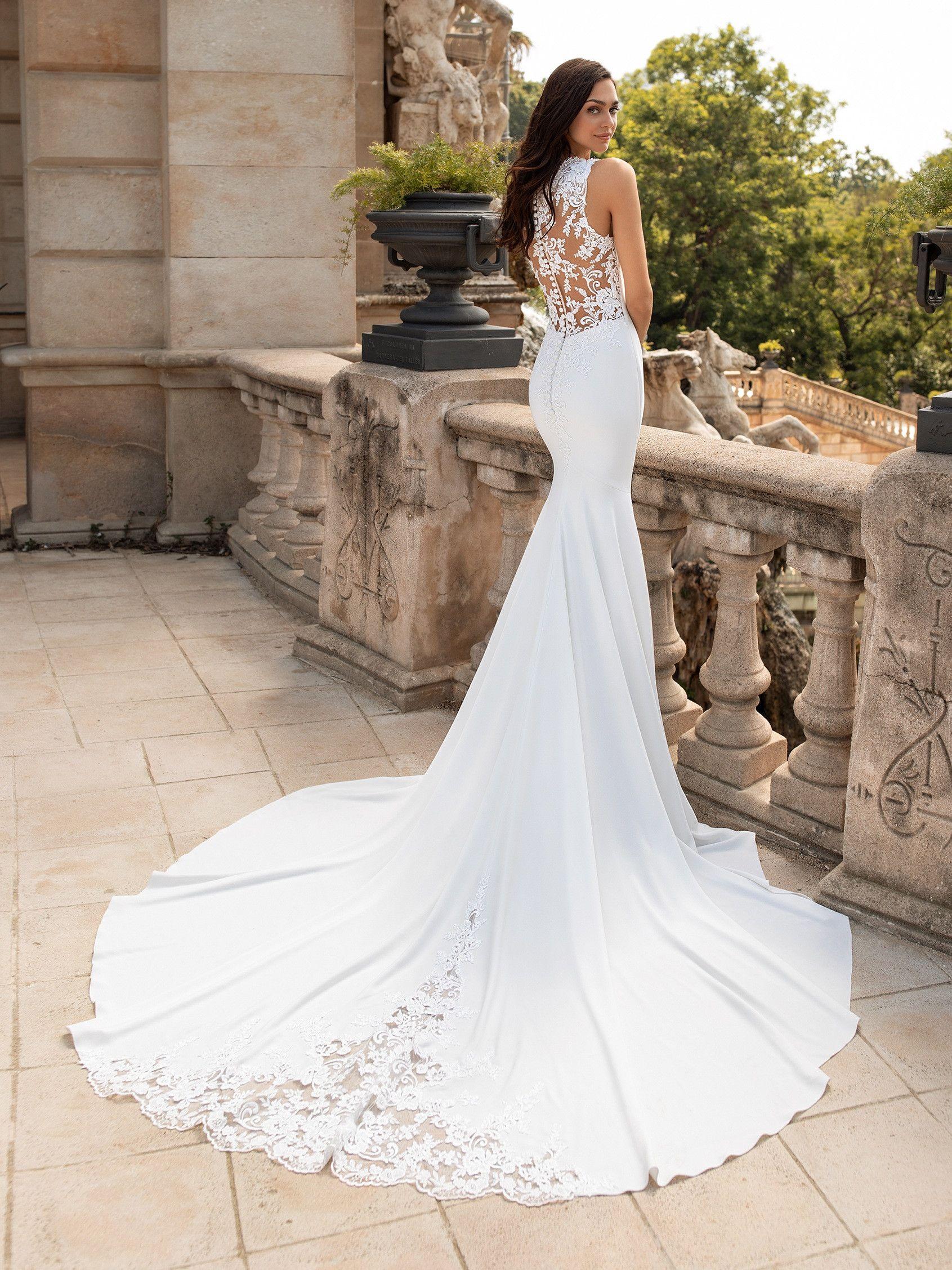 Mermaid wedding dress with illusion back ENOL   Pronovias ...