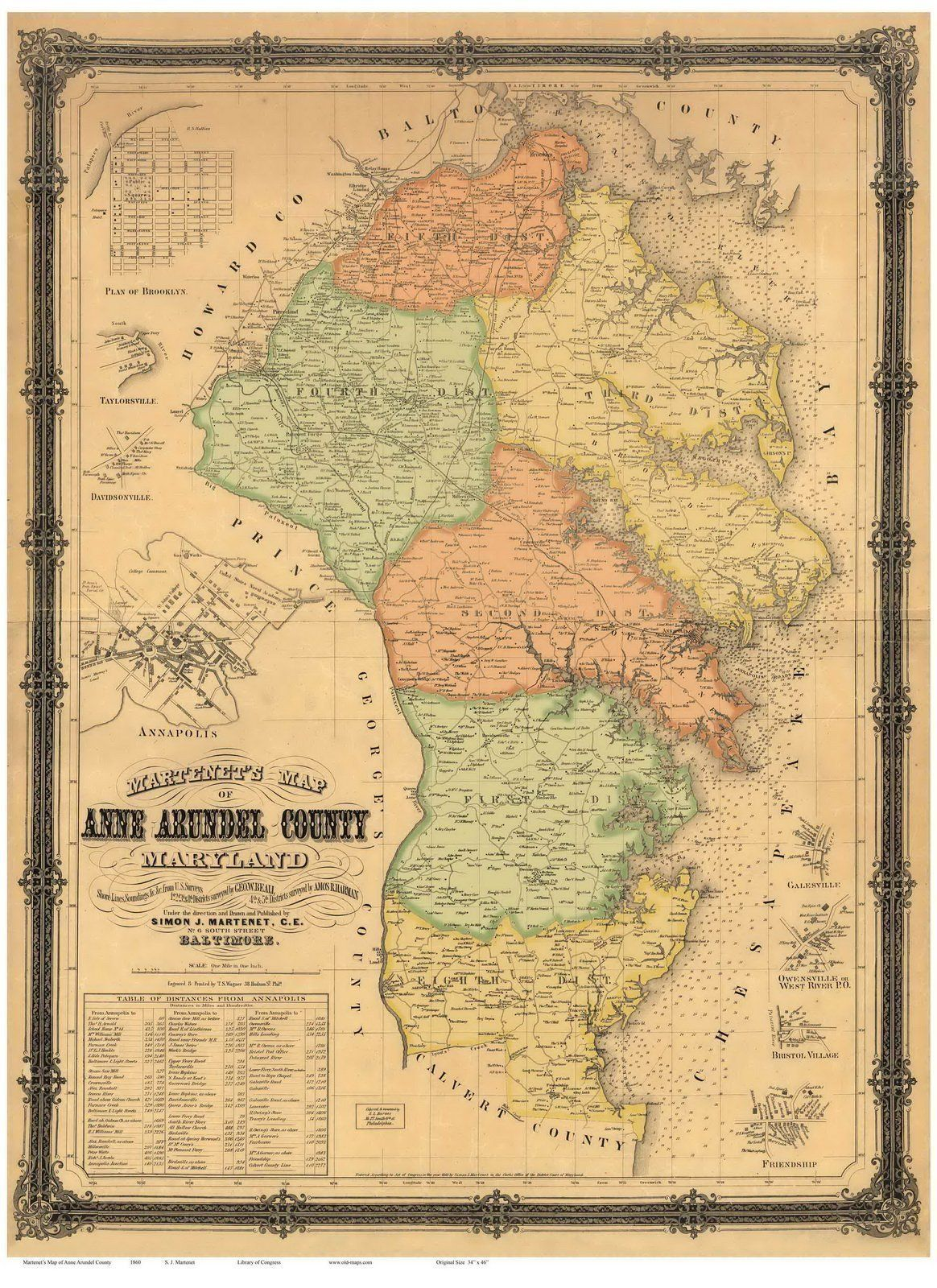 Baltimore county maryland genealogy learn familysearch org - Anne Arundel County Maryland 1860 Wall Map With Homeowner Names Reprint Find Your