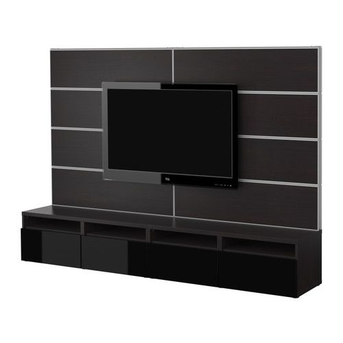 BestÅ Tv Storage Combination Black Brown High Gloss