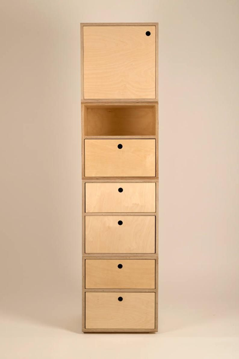 Modular Plywood Storage Cube With Top Drawer Etsy Plywood Storage Cube Storage Plywood Furniture