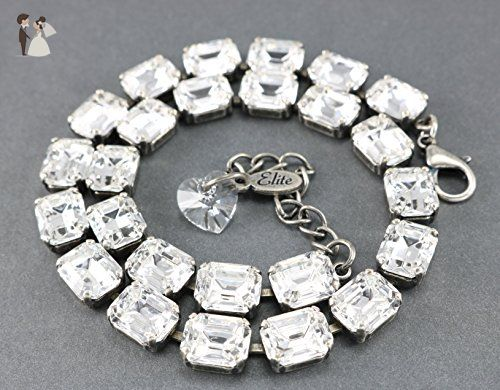 Rooney Crystal Necklace Made With Genuine Octagon Swarovski Crystals. A Fashion Forward Look! A Great Necklace for a Formal Affair or Just a Night out on the town. - Wedding nacklaces (*Amazon Partner-Link)