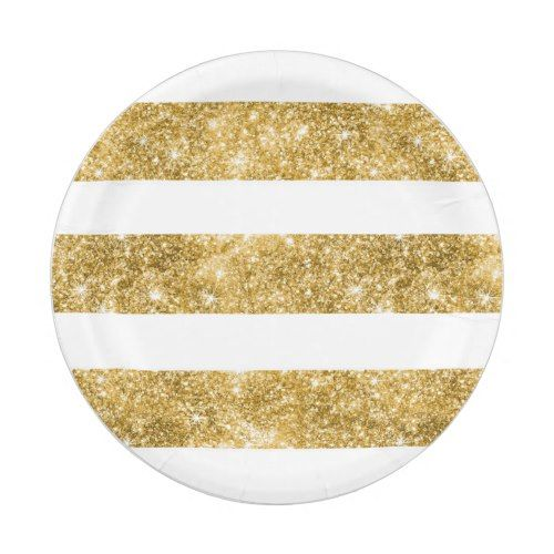 White and Gold Glitter Stripes Wedding Paper Plate  sc 1 st  Pinterest : tan paper plates - pezcame.com