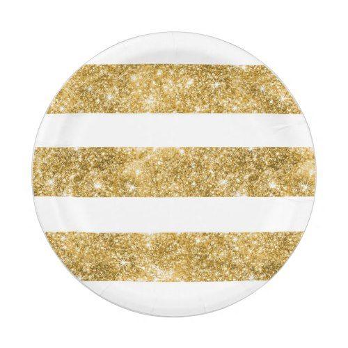 White and Gold Glitter Stripes Wedding Paper Plate  sc 1 st  Pinterest & White and Gold Glitter Stripes Wedding Paper Plate | Glitter Wedding ...