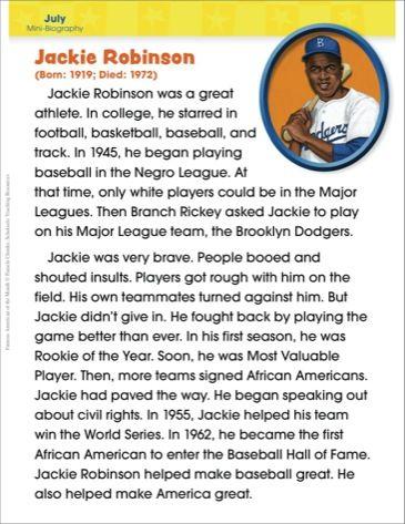 Jackie Robinson Famous American Scholastic Printables Jackie