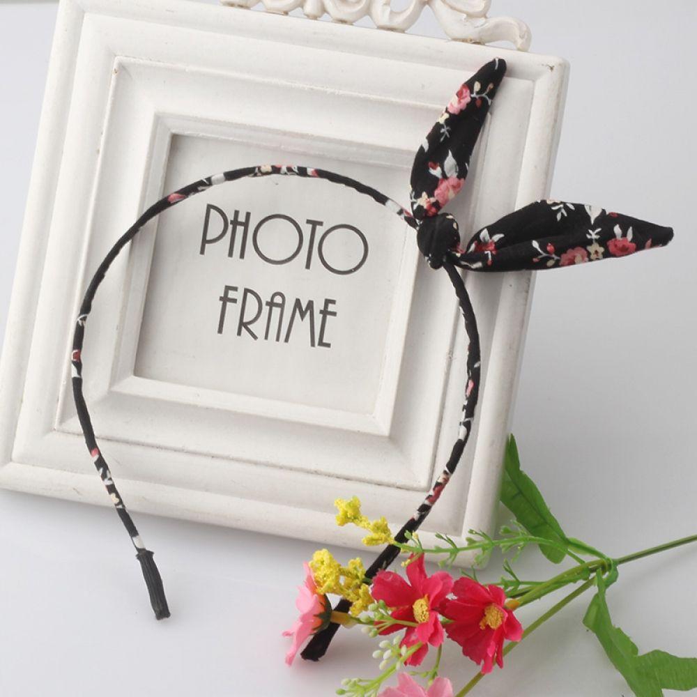 Floral Flowers Fabric Bow Knot Hairband Headband Bunny Rabbit Ears Hair Hoop Band Accessories,4