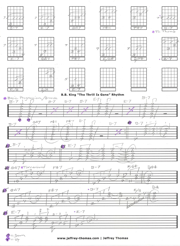 Bb Kings The Thrill Is Gone Rhythm Worksheet I Mapped Out The